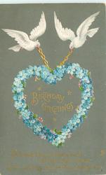 BIRTHDAY GREETINGS   two white doves carry blue forget-me-not heart