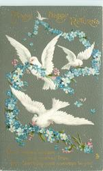 MANY HAPPY RETURNS  three white doves carry chain of blue forget-me-nots