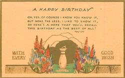 A HAPPY BIRTHDAY  WITH EVERY GOOD WISH  sundial, flowers, gilt