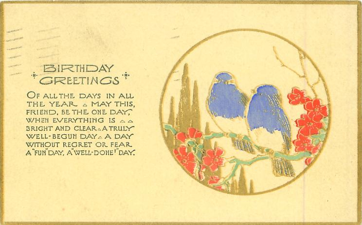 BIRTHDAY GREETINGS   gilt circle inset two blue birds on branch with red flowers
