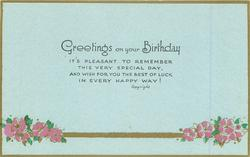 GREETINGS ON YOUR BIRTHDAY  purple flowers & gilt bar below
