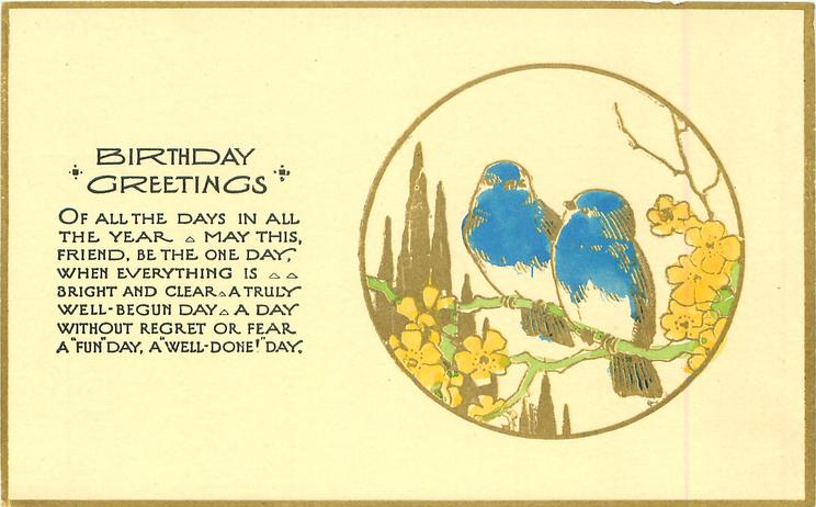 BIRTHDAY GREETINGS   gilt circle inset two blue birds on branch with yellow flowers
