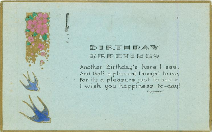 BIRTHDAY GREETINGS   two blue birds below purple flowers & gilt