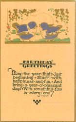 BIRTHDAY GREETINGS  two blue-birds on ground, gilt
