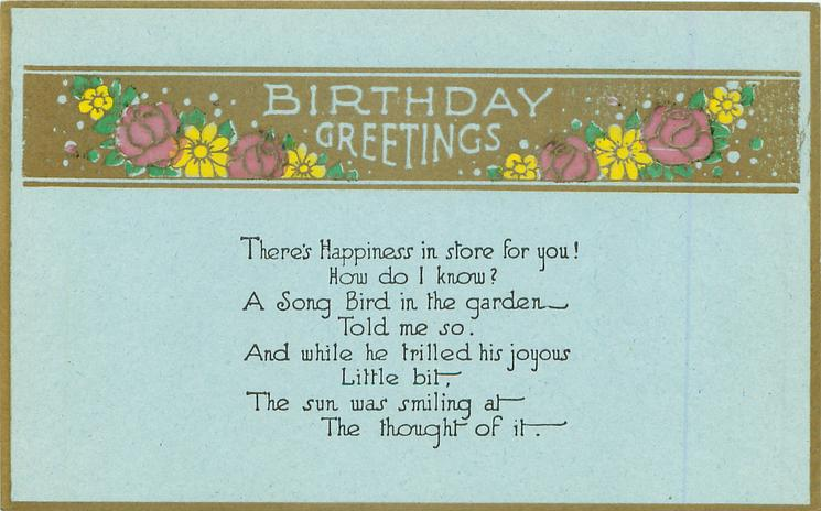 BIRTHDAY GREETINGS in gilt panel with purple & yellow flowers