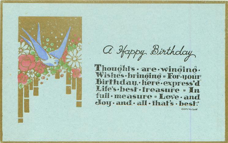 A HAPPY BIRTHDAY  blue bird flowers & gilt left