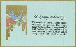 A HAPPY BIRTHDAY  blue bird flowers & gilt left