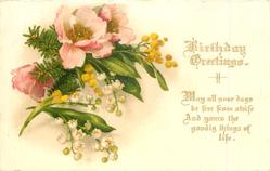 BIRTHDAY GREETINGS gilt wording, lilies-of-the-valley, anemones & mimosa