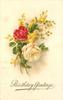 BIRTHDAY GREETINGS, gilt greeting  roses & mimosa