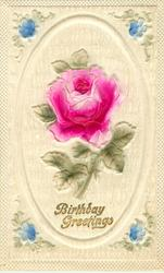 BIRTHDAY GREETINGS inset of pink rose, 4 forget-me-nots at corners