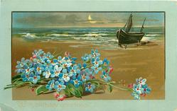WITH BIRTHDAY GREETINGS  seascape, beached sailing ship, forget-me-nots front left