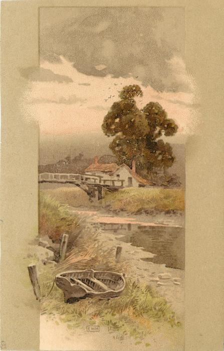 boat, stream, bridge, cottage and tree