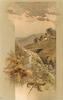 stony gulch, plank bridge, cottage, hills behind