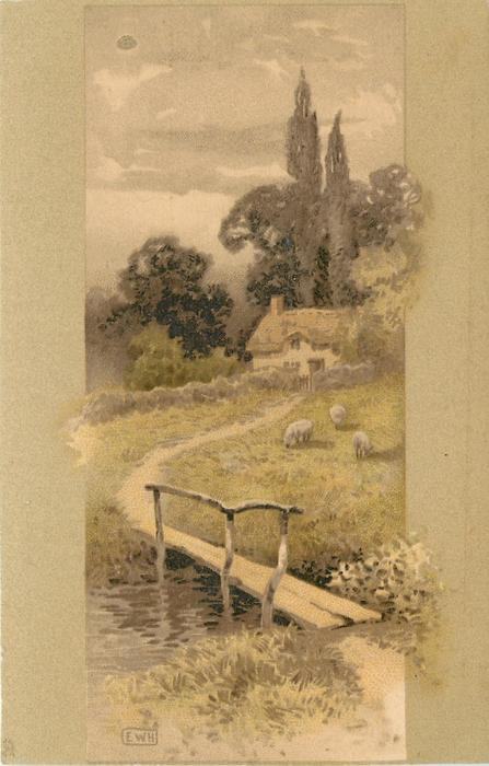 stream, plank bridge, cottage, trees behind