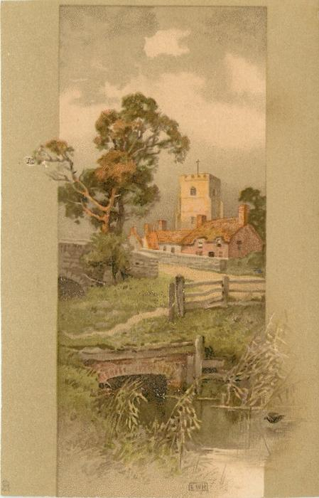 two bridges over river, tree, church and cottages