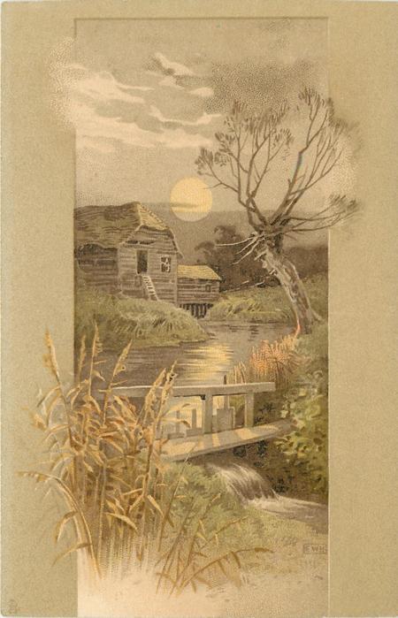 wooden bridge, waterfall, stream, tree and barn