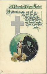 A PEACEFUL HAPPY EASTER Jesus with sheep in circular insert, silver cross behind