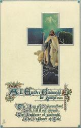 ALL EASTER GLADNESS BE YOURS  Jesus with sheep inset in cross
