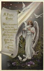 A JOYFUL EASTER angel and 3 doves right of scroll