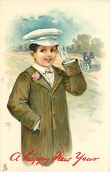 boy saluting, motor car with driver behind