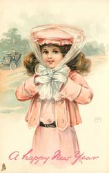 girl in pink ties bow under chin of hat, car with driver in background