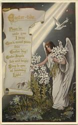 EASTER-TIDE  angel gathers lilies right of scroll