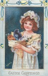 EASTER GREETINGS  girl in white three chicks