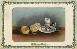 A HAPPY EASTER  two chicks, egg cup