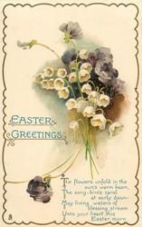 EASTER GREETINGS  lilies-of-the-valley, violets