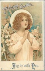 A HAPPY EASTER  angel prays amid lilies