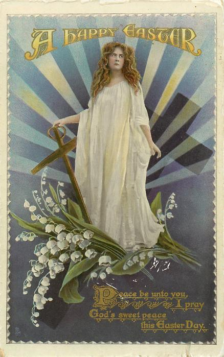 A HAPPY EASTER  girl in white, , lilies-of the valley