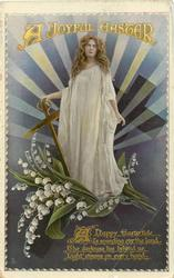A JOYFUL EASTER  girl in white, cross, lilies-of the valley