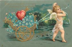 flimsy white gowned cupid pulls chariot of flowers/hearts to right CUPID TO YOU HIS FLIGHT IS WINGING//FLOWERS BRINGING