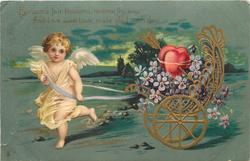 white gowned cupid pulls chariot of flowers/hearts to left BLOSSOMS FAIR BLOSSOMS, BESTREW THY WAY//EACH DAY
