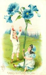 A HAPPY BIRTHDAY TO YOU boy looks up at exaggerated blue morning glory flowers held by seated girl