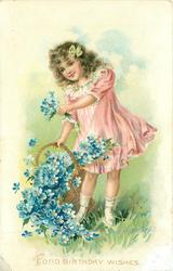 FOND BIRTHDAY WISHES  girl with spilt basket of forget-me-nots