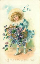 LOVING BIRTHDAY GREETINGS  girl spills basket of purple violets