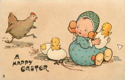 A HAPPY EASTER  girl sitting right holding hatching egg, two other hatching eggs on ground, hen runs in from left