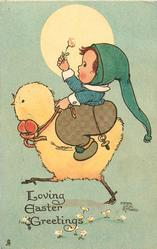 LOVING EASTER GREETINGS  boy rides large chick left