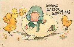 LOVING EASTER GREETINGS  six chicks watch girl hatching out of egg