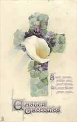 EASTER GREETINGS floral violet cross, calla lily