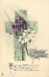 EASTER PEACE  floral violet cross, narcissi