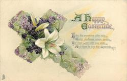 A HAPPY EASTERTIDE  violets & Easter lilies