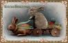 EASTER GREETINGS  rabbit drives cart pulled by another rabbit