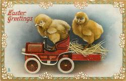 EASTER GREETINGS  two chicks on toy car
