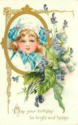 MAY YOUR BIRTHDAY BE BRIGHT AND HAPPY gilt oval inset girls face left, violets right