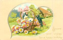 SINCERE GOOD WISHES FOR A HAPPY BIRTHDAY  two swallows on basket of daisies