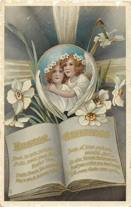 EASTER GREETINGS  inset of two angels, narcissi