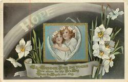 HOPE  two angels, narcissi ALL EASTER JOYS BE YOURS