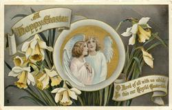 A HAPPY EASTER  two angels, daffodils